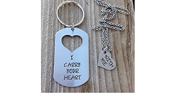 gunmetal chain heart cut out customize with your details I carry your heart Heart Keychain and Necklace Set aluminum dog tag