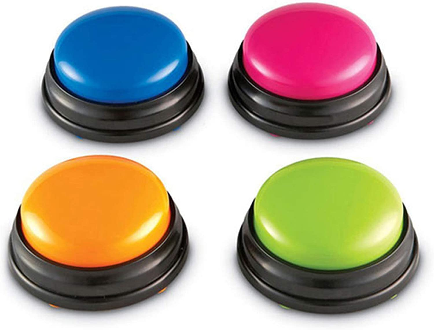 Decdeal Answer Buzzers - Recordable Button - Dog Training Buzzer - Custom Easy Button - Record & Playback Your Own 30S Message - Set of 4 (Battery Not Included)