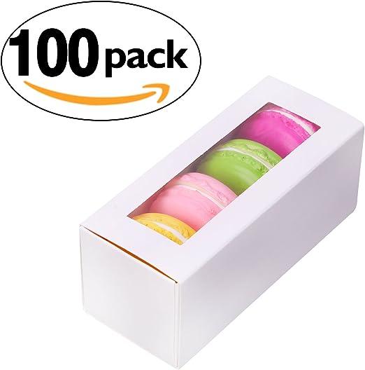 packhome Macaron caja con ventana para repostería cupcakes ...