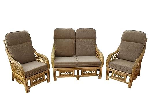 Conjunto de muebles de terraza de mimbre Portofino de 3 ...