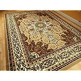 Persian Style Rug 8x11 Beige Brown Rug 8x10 Area Rug Living Room Carpet 8'x11' Rugs Floor Rugs Gold Black Green Brown Rug (Large 8x11)