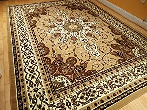 Amazon Com Persian Style Rug 8x11 Beige Brown Rug 8x10