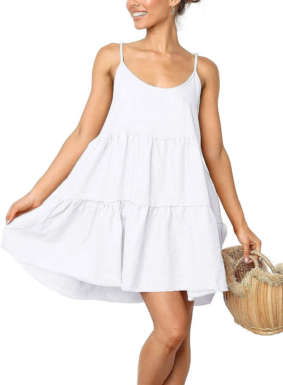 LOMON Swimsuit Cover Up Dress Mini Short Flowy Skater Dresses Maxi Dress White,Large