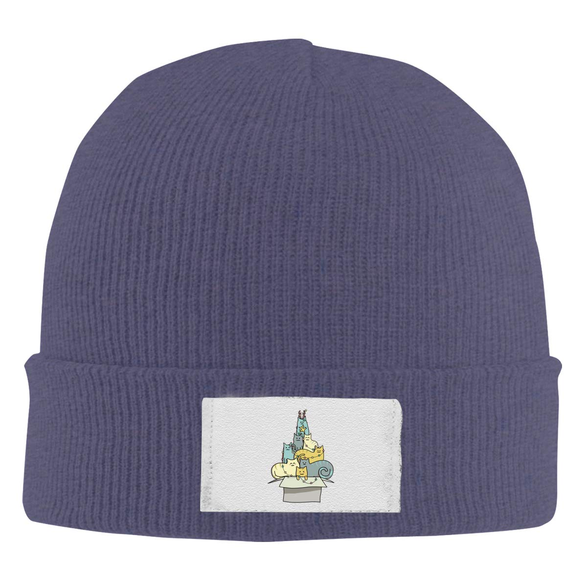 Stretchy Cuff Beanie Hat Black Skull Caps Cute Kawaii Cat Christmas Tree Winter Warm Knit Hats
