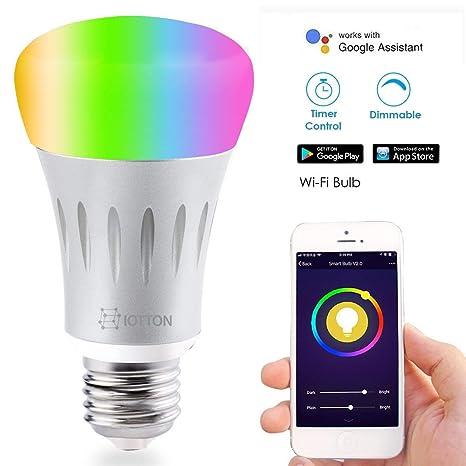 Bombilla LED inteligente B&T Bombilla WiFi Teléfono inteligente Control remoto regulable, iOS y Android Control