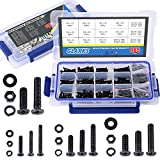 Glarks 665Pcs Alloy Steel Flat Head Machine Screws Bolts Nuts and Flat Gasket Spring Washers Assortment Set, Fully Threaded, Black Oxide Finish