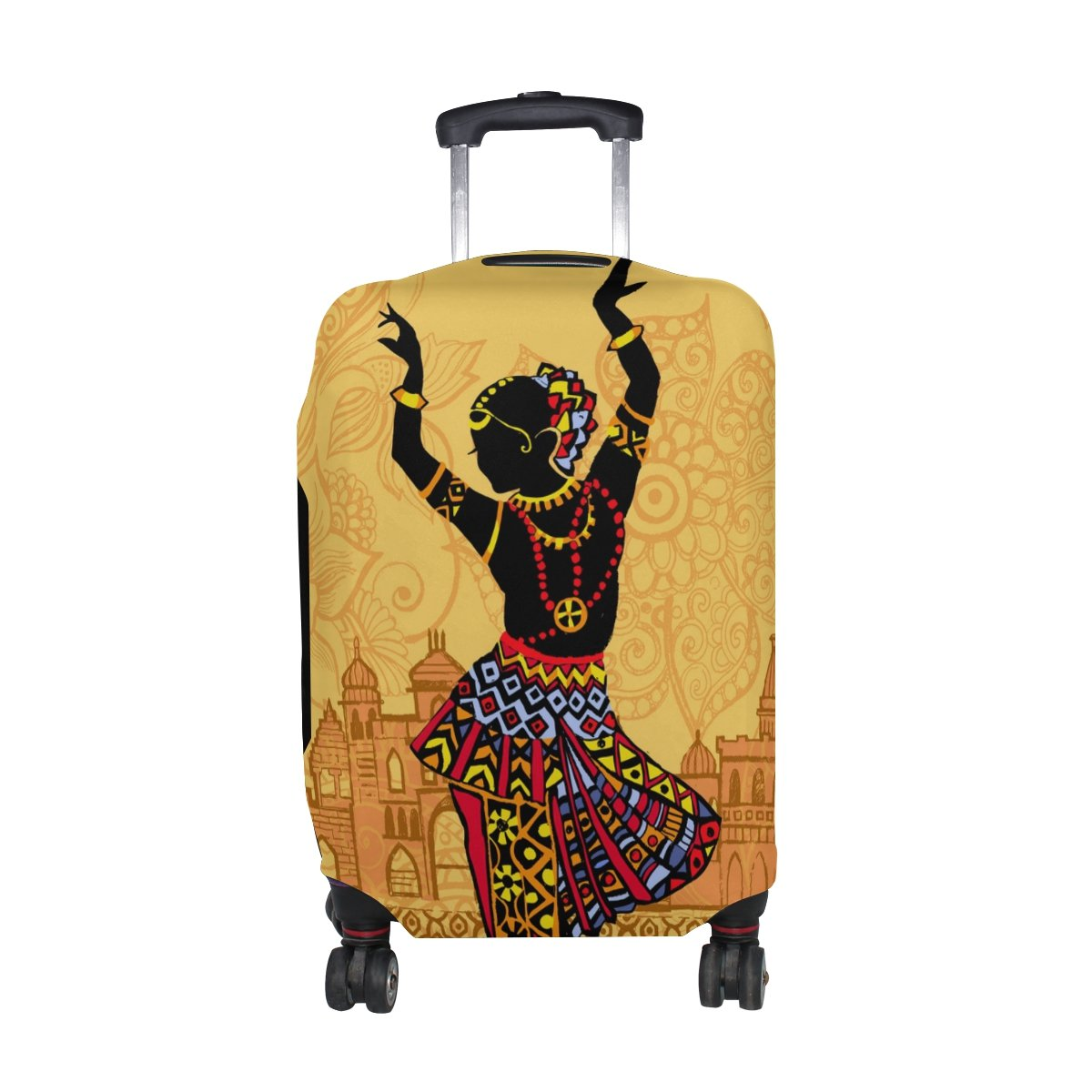 U LIFE Vintage Indian Women Lotus Luggage Suitcase Cover Protector for Men Women