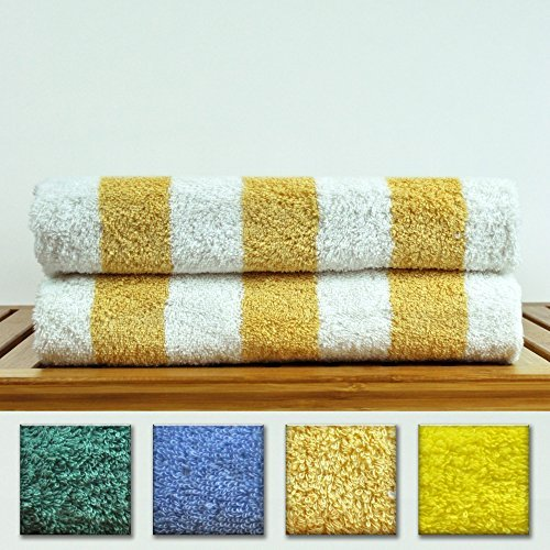 Luxury Hotel & Spa Towel 100% Genuine Turkish Cotton - Extra Large Cabana Striped Pool Beach Towel Set (Salmon , Set of 2)