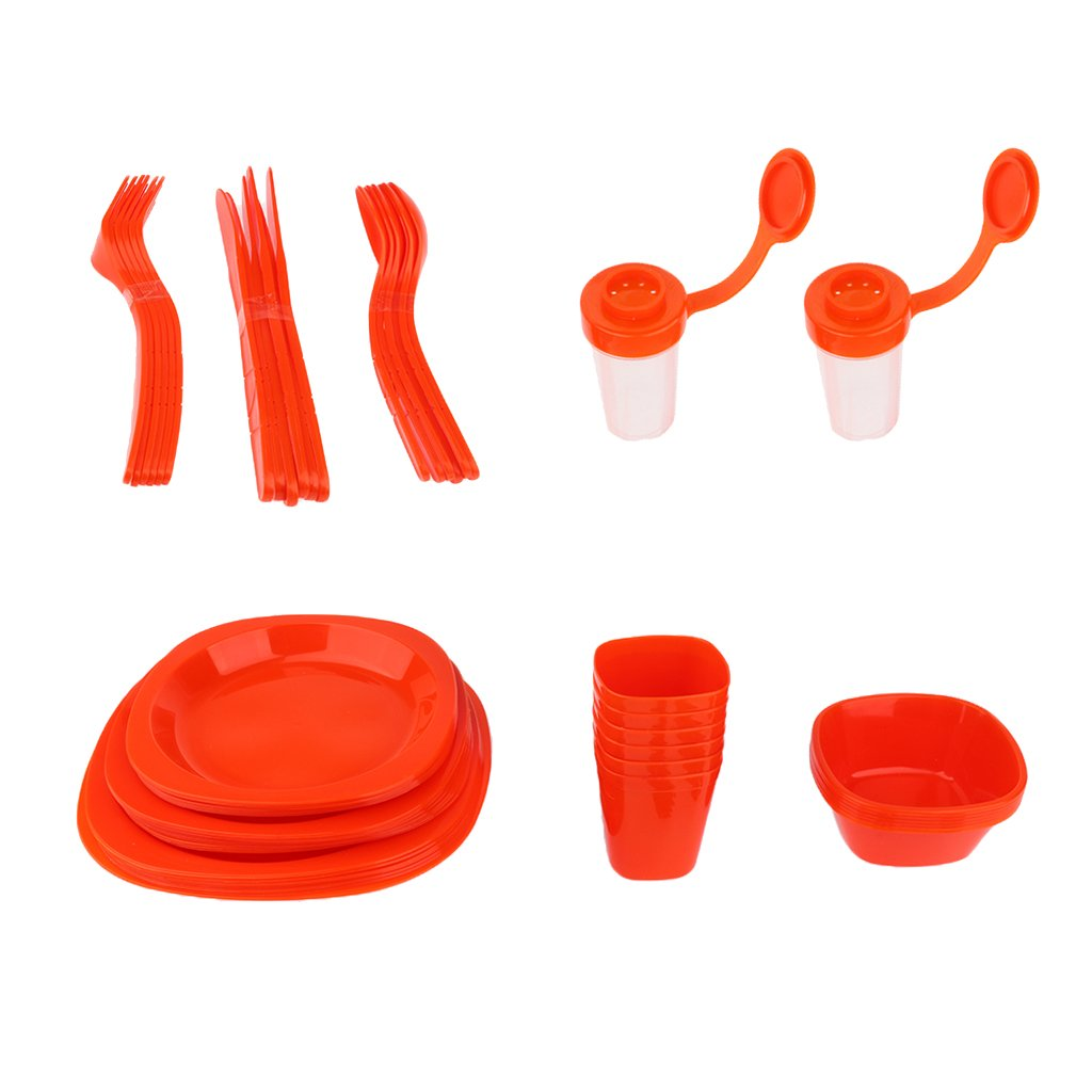 Lightweight Plastic Picnic Dinnerware Set Full Set for Outdoor Camping Picnic BBQ Family Reunion Garden Party with Portable Carry Box - Red, 25.5x25x18cm by Flameer