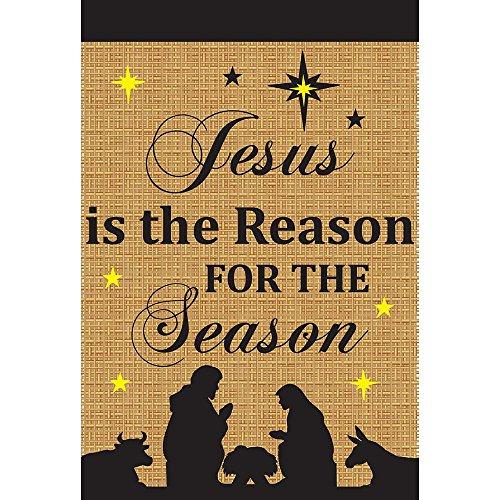"Magnolia 29"" x 42"" ""Jesus is the Reason For the Season Nativity Burlap"" Flag, Large -  Jozie B, 00938"