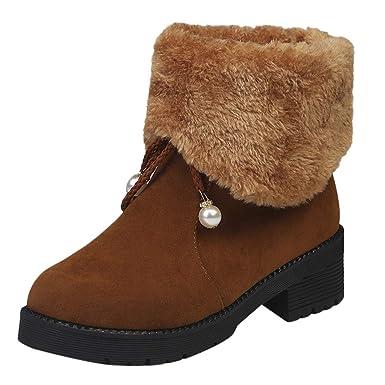 MYMYG Botas Goma Zapato Mujer Tacon Ancho Zapatos señora Invierno Botas de Vestir Botines Mujer Tacon