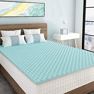 Milemont 1.5 inch Mattress Topper,Egg Crate Design Gel Swirl Memory Foam Bed Topper for Pressure Relief King Size