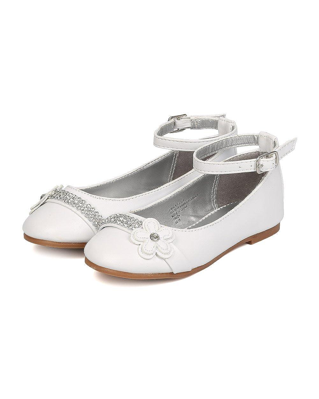 White Toddler Girl FB41 Leatherette Rhinestone Daisy Ankle Strap Ballerina Flat