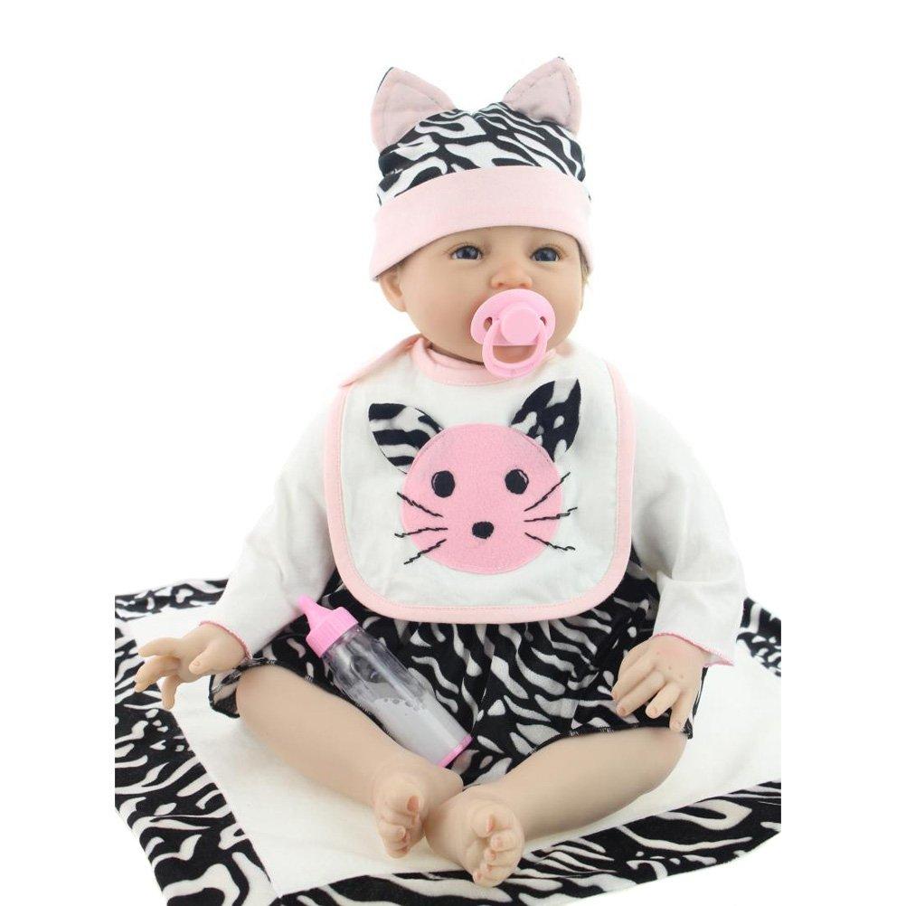 NPKDOLL 22pollici magnetico bocca realistici bambola reborn principessa in morbido silicone Natale giocattolo regalo per bambini Sorriso Cat