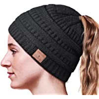 HANPURE Bluetooth Beanie,Ponytail Bluetooth Hat for Woman,Beanie with Headphones Upgrade Bluetooth 5.0,Hands-Free Knit Music Hats Specil Design for Girl&Woman,Comfort and Warm Material Black
