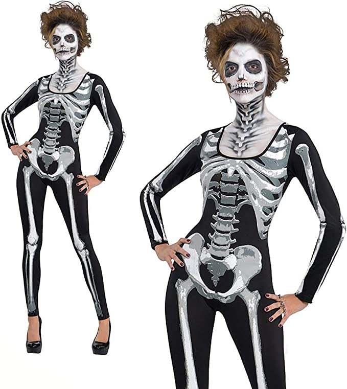 DTOWER Disfraz de Halloween Mujer Sexy, Snazzy Skeleton Party ...