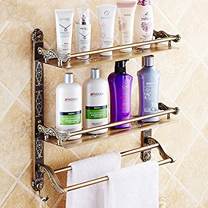Amazon.com: Antique Bronze Bathroom Shelves Double Continental Bath ...