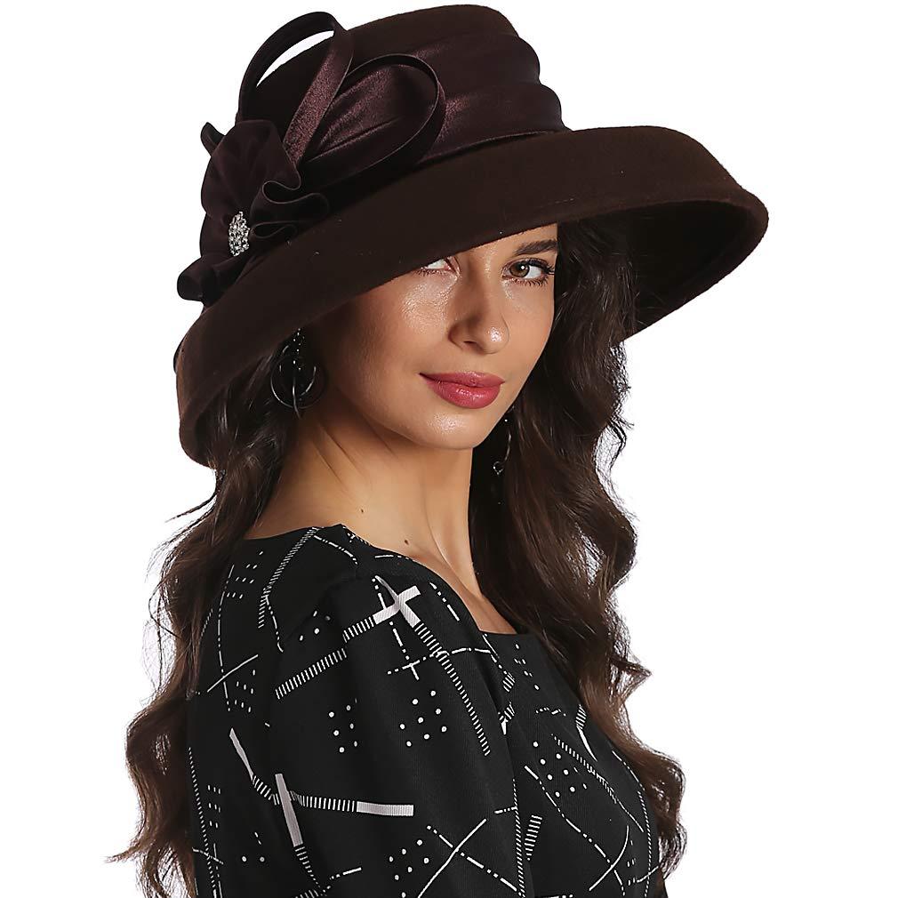 FORBUSITE Elegant Women Wool Felt Floral Trimmed Cloche Bucket Winter Church Hats