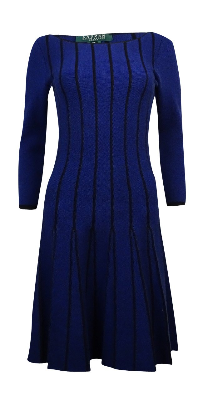 Lauren Ralph Lauren Womens Striped 3/4 Sleeves Sweaterdress Blue S
