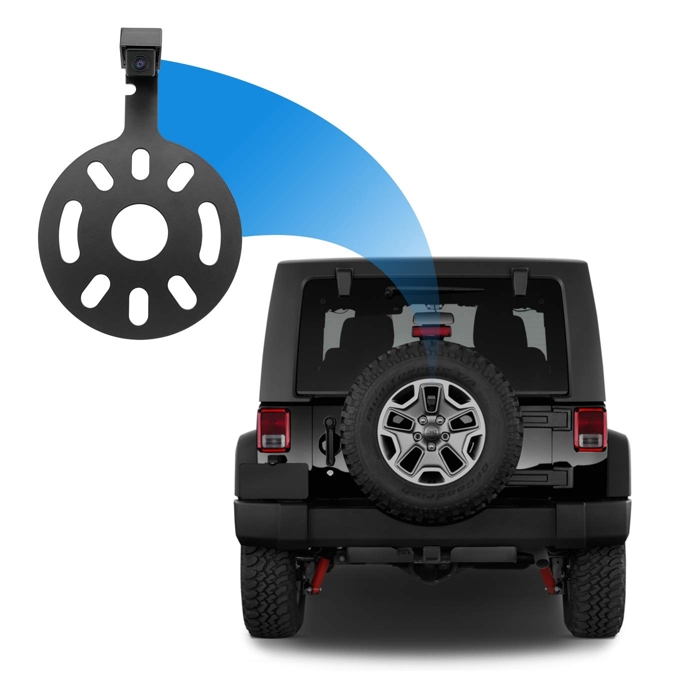 Master Tailgaters Backup Camera for Jeep Wrangler Spare Tire Mount