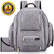 Diaper Bag Backpack by Bliss Bag for Babies, Girls, Boys, Twins, Moms & Dads. Includes Travel System / Organizer, Changing Pad, Stroller Straps, Insulated Pockets, & Water Resistant Fabric.
