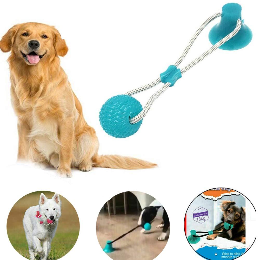 Multifunction Pet Molar Bite Toy Cleaning Teeth Safe Elasticity Soft for Dog Puppy LXX Giocattolo Durevole della Palla della Corda del Rimorchiatore del Cane con la Ventosa 1pcs, Verde