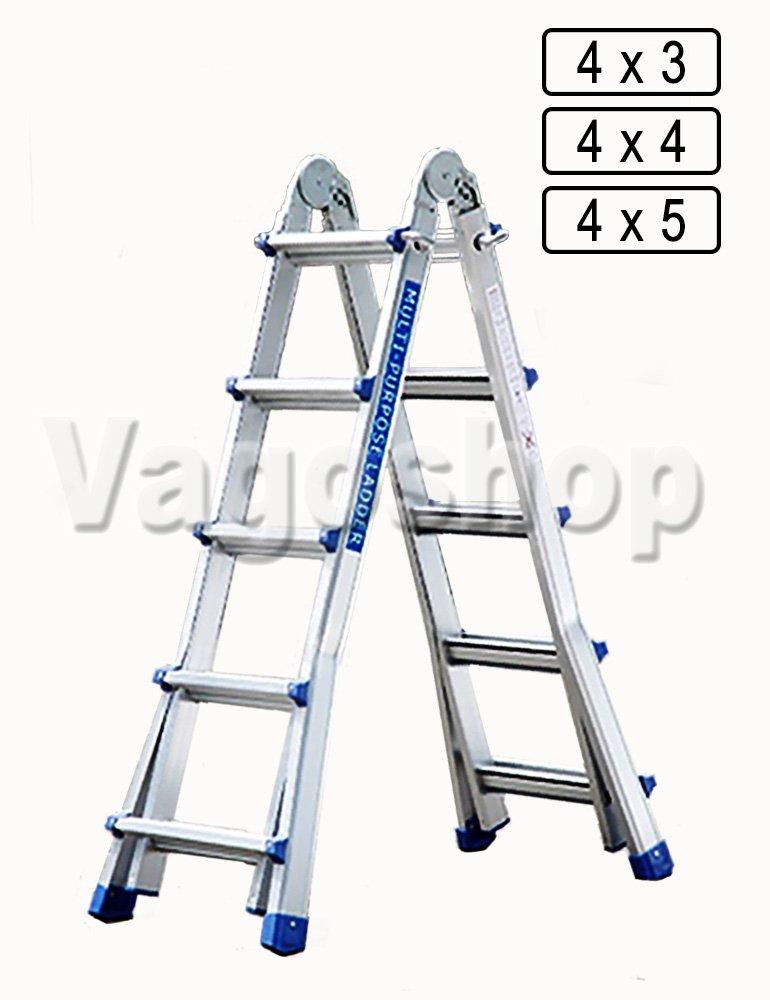 4x5 Aluminium Teleskopleiter Aluleiter Multifunktionsleiter Klappleiter Anlegeleiter Vago