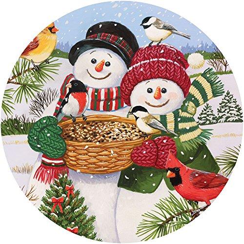 Bits and Pieces - 1000 Piece Round Puzzle - Snow Couple Feeding The Birds, Snowman Fun - by Artist William Vanderdasson - 1000 pc Jigsaw