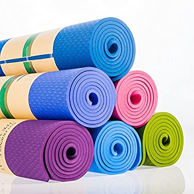 Fitness TPE Yoga Mat 6mm Thick Non-Slip Soft Design Chemical Free No Smell Exercise Mat - Color Optional