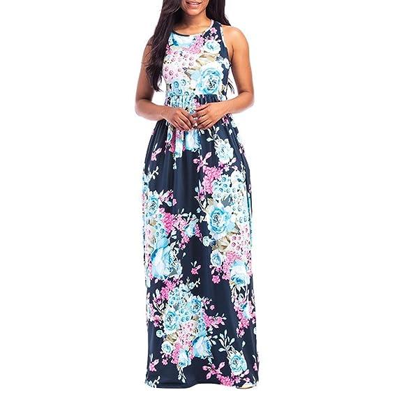 Ba Zha Hei | Vestido de Playa sin Mangas con Estampado Floral de Mujer Vestidos Largos | Vestidos Mujer Verano 2018 | Mujer Largo Boho Vestido | Lady Beach ...