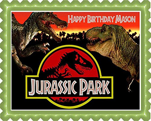 Amazon Com Jurassic Park Edible Cake Topper 7 5 X 10 1 4