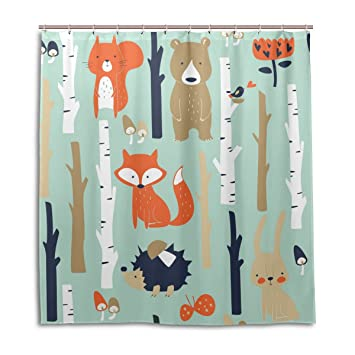 MOCK ST Wood Tree Fox Bear Hedgehog Shower Curtain By Water Resistant Fabric Bath