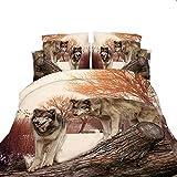 LightInTheBox 3D Wolf Wood Polyester Duvet Cover Sets Full Size Print 1 Duvet Cover, 1 Flat Sheet, 2 Pillowcase(Set of 4)