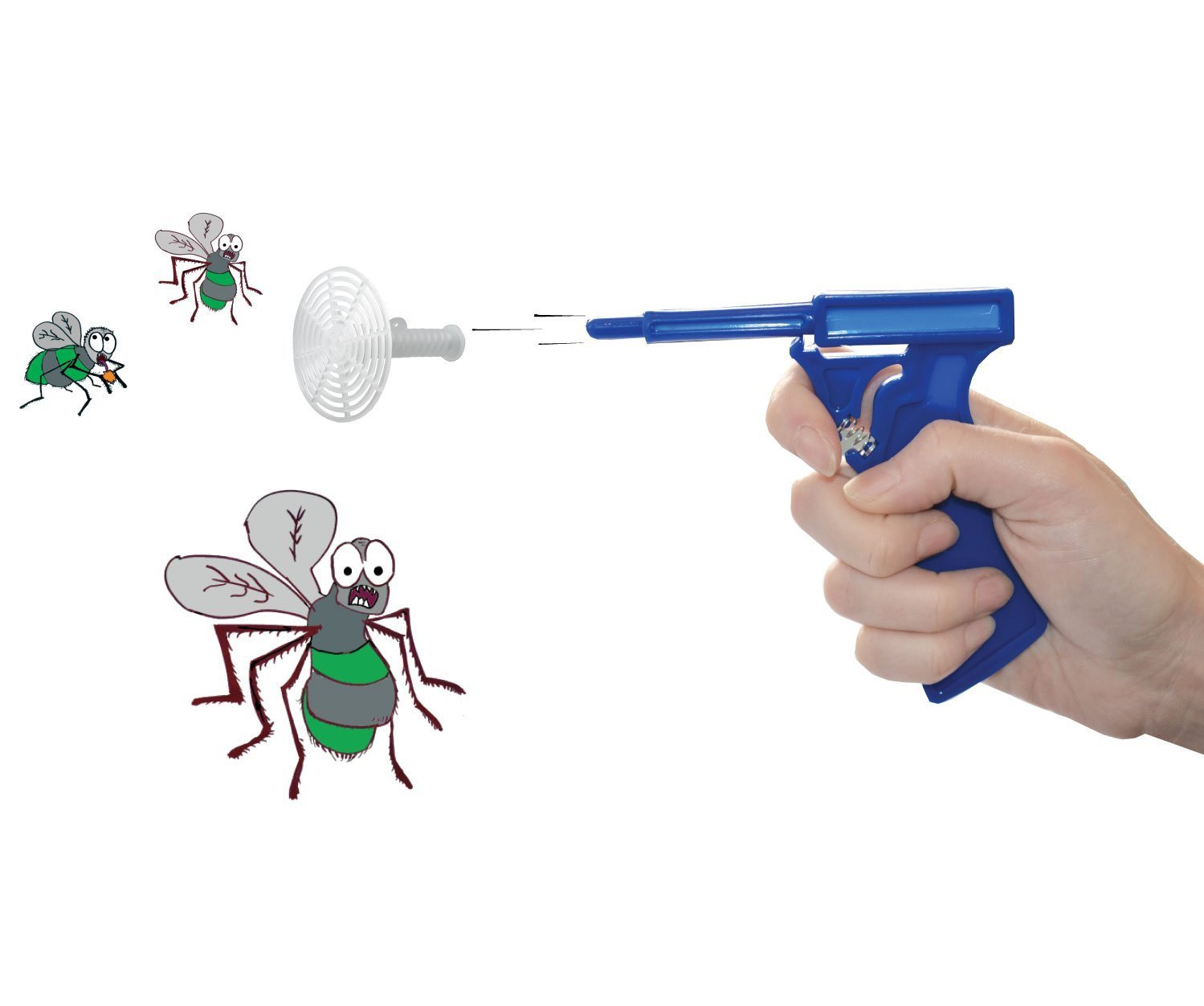 Pair of Fly Guns (Total 2 Guns) - the gun that shoots flies and really works! Without making a Mess (Blue, Red)