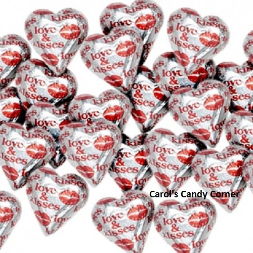 Price comparison product image Love & Kisses Solid Milk Chocolate Hearts (1 / 2 Lb - Approx 30 Pcs)