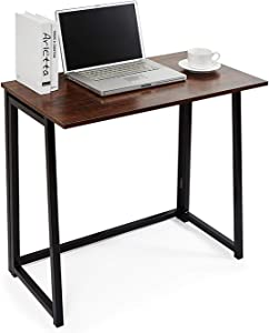 Folding Desk No-Assembly Small Computer Desk Home Office Desk Foldable Table Study Writing Desk Workstation for Small Space Offices Rustic Brown