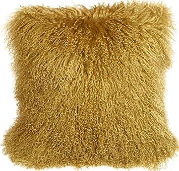 PILLOW D COR Mongolian Sheepskin Soft Gold Throw Pillow