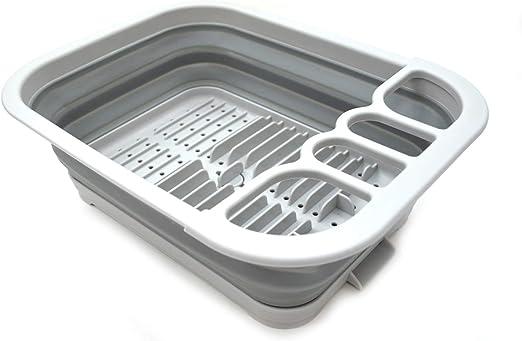 Sammart Escurreplatos extensible y plegable con escurridor Juego de escurreplatos plegable Organizador de vajilla port/átil ahorro de espacio bandeja de almacenamiento de cocina