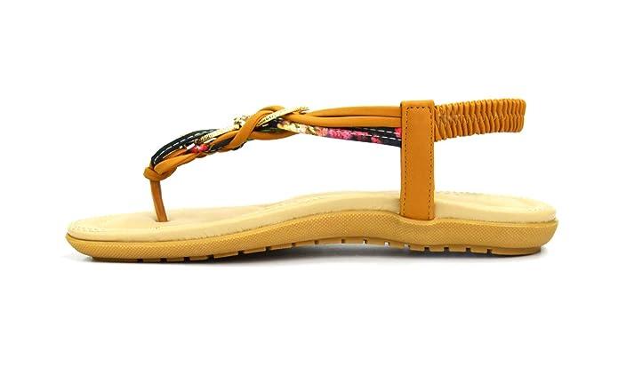 ad6985f890048 Oh My Shop SHS80   Sandales Nu-Pieds Brides Tressées Uni et Motif Fleuri  avec Ornement Doré et Strass (Camel)  Amazon.fr  Chaussures et Sacs