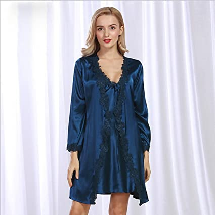 NEIYI New Simulation silk nightgown spring and summer women s cardigan  tunic suit lace sexy pajamas CUIYAN 5e6b59369