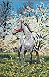 Gray Horse by The Blossoming Trees Needlepoint Printed Canvas, NOT A KIT