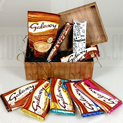 Galaxy Chocolate Lovers Treasure Hamper Gift Box - Bars, Hot Chocolate, Ripple, Honeycomb, Nut Crunch, Smooth Milk, Salted Caramel, Cookie Crumble- Great Birthday Gift Idea - By Moreton Gifts
