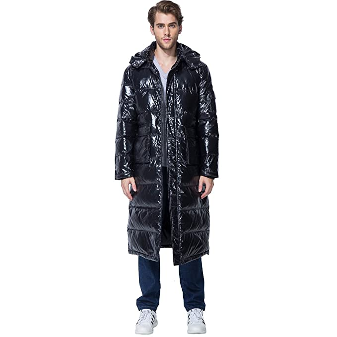 18fefbf14 PANLTCY Men's Winter Thickened Hooded Puffer Long Down Jacket Ski Parka  Snow Down Fill Coat