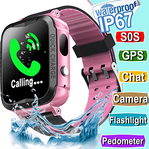 Kid Smart Watch GPS Tracker - IP67 Waterproof Fitness Tracker Watch Phone with SIM SOS Camera Anti-lost Game Pedometer Digital Wrist Summer Outdoor Gift Sport Bracelet Watch iOS/Android (G.Pink)