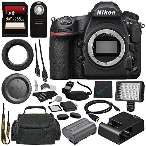 - GreensCameraWorld Nikon D850 DSLR Camera + Spacious Carrying Case + 256GB SDXC Card + SD Card USB Reader + Professional 160 LED Video Light Studio Series + Mini HDMI Cable Bundle