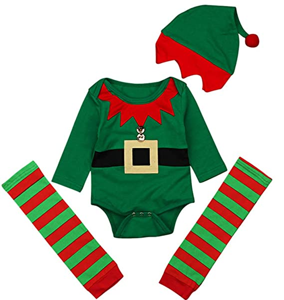 2fa93434b Image Unavailable. Image not available for. Color: LOTUCY Baby Girls Boys Christmas  Outfit Cartoon Print Romper Striped Leg ...