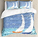 Sailboat Nautical Decor Duvet Cover Set by Ambesonne, Grunge Style Illustration of Two Racing Sailboats in A Windy Ocean Water Print, 3 Piece Bedding Set with Pillow Shams, Queen / Full, Light Blue