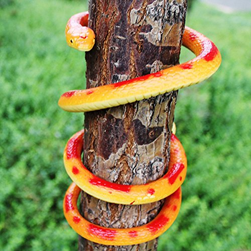 (Giveme5 Faux Snake Toy, Realistic Rubber Fake Snake Toy Simulated Animal Garden Props Scary Gag Gift Funny Prank Joke Toys for Halloween Costume Party Fools Day Decoration - 52 Inch)