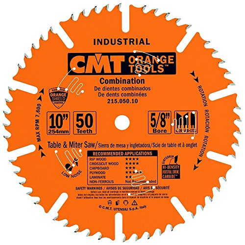 Industrial Radial Arm Saw - CMT 215.050.10 Industrial Combination Blade, 10-Inch x 50 Teeth 4ATB+1TCG Grind with 5/8-Inch Bore, PTFE Coating