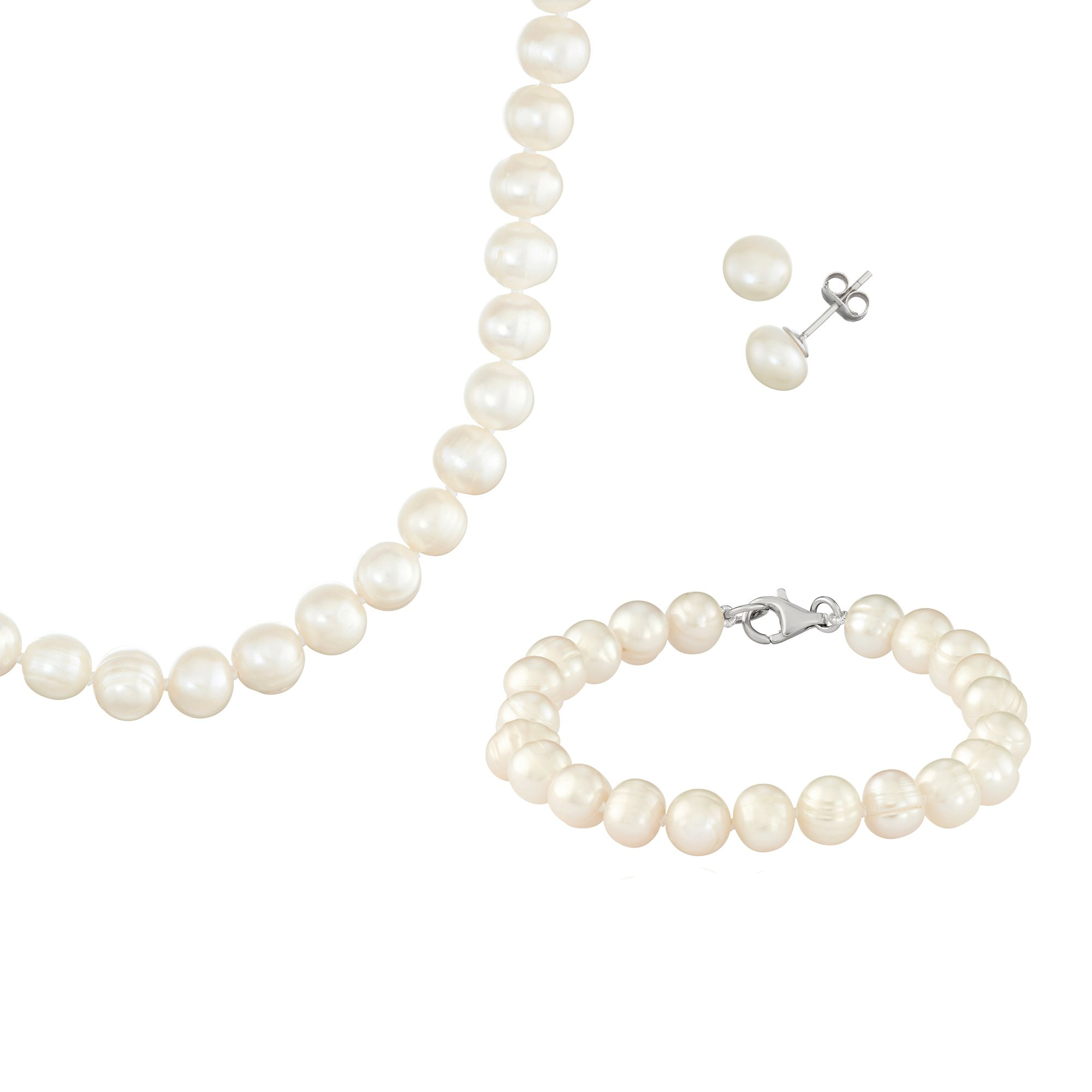 White Fresh Water Potato Pearl Sterling Silver Necklace, 18'', Bracelet, 7.5'', and Earring Set